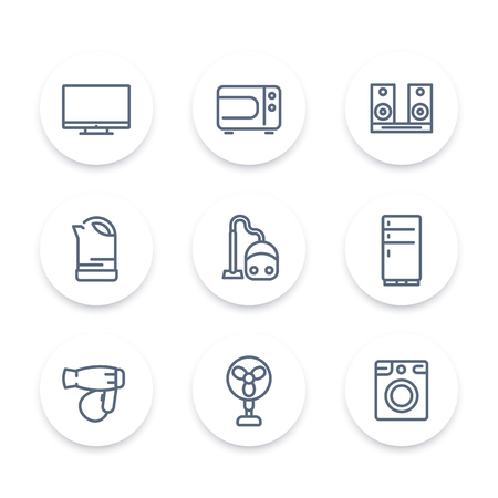 consumer electronics: Appliances line icons, household consumer electronics, electric devices, vector illustration