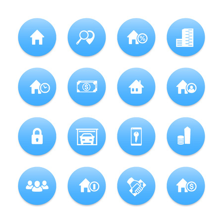 occupant: Real estate icons set, house sale, apartments, search, houses for rent, garage, building, vector illustration