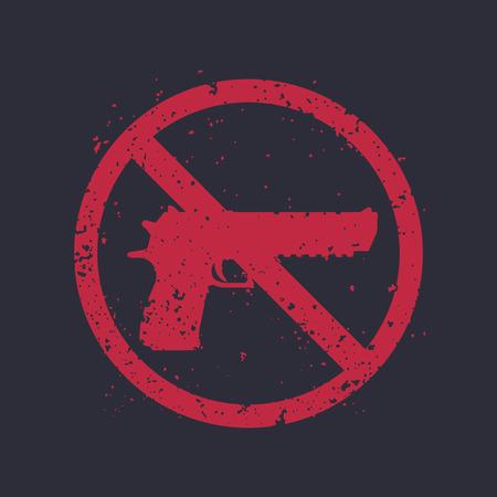no guns sign with powerful pistol, gun silhouette, no firearms