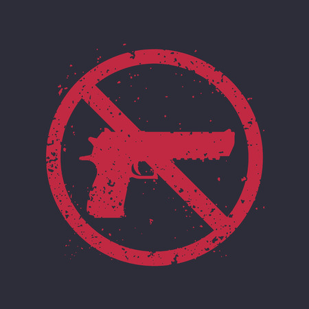 no guns sign with powerful pistol, gun silhouette, no firearms