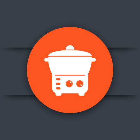 steam cooker: electric cooker icon Illustration
