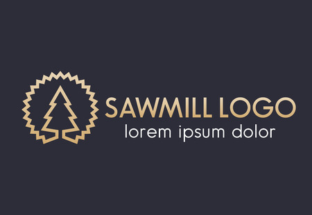 Sawmill logo line design, sawmill disk and tree outline, gold on dark