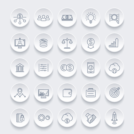 hedge: Venture capital line icons, investments, risk assessment, forex, hedge fund, startup company