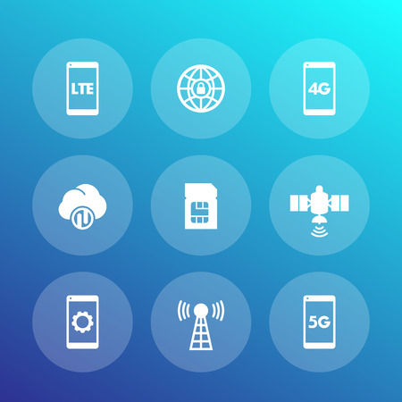 wireless technology icons, lte communications, 4g, 5g mobile networks