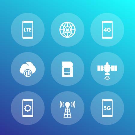 mobile communications: wireless technology icons, lte communications, 4g, 5g mobile networks