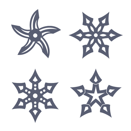throwing: ninja throwing stars, shuriken on white