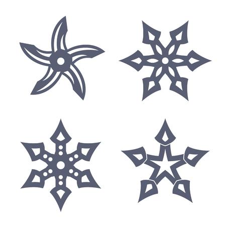 shuriken: ninja throwing stars, shuriken on white