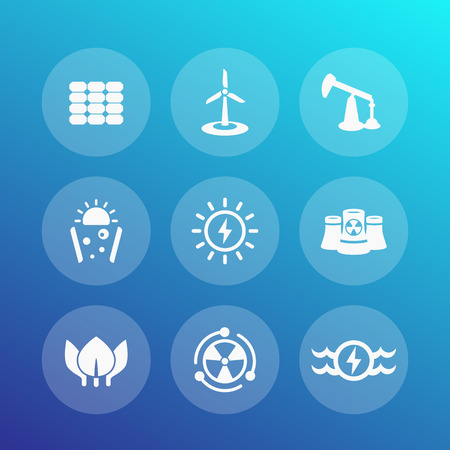 production of energy: Power, energy production icons set, energetics, different sources of energy, nuclear, solar, wind, water Illustration