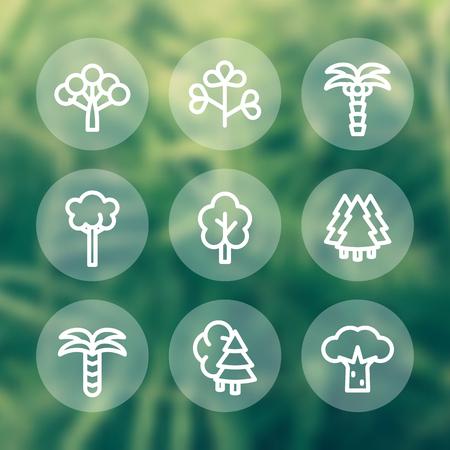 Trees line icons, round pictograms