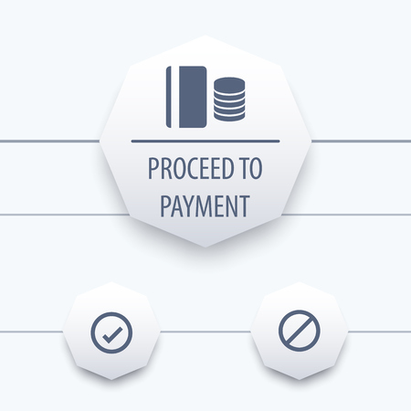 proceed: Proceed to payment window, ui elements, vector illustration
