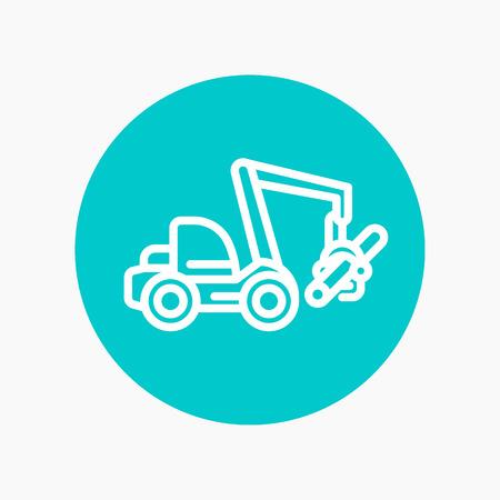 wheeled: Forest harvester icon, wheeled feller buncher, timber harvesting machine linear pictogram, vector illustration
