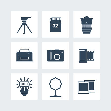 photo equipment icons set