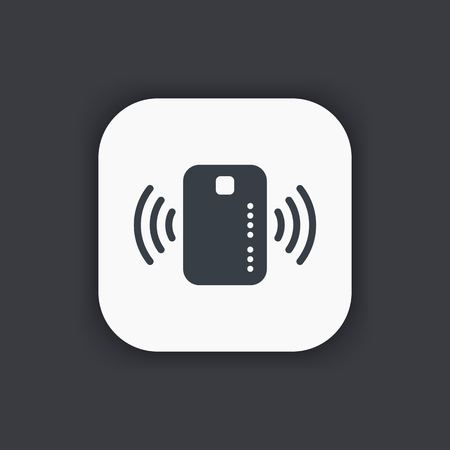 wirelessly: Contactless credit card icon, card with radio wave outside