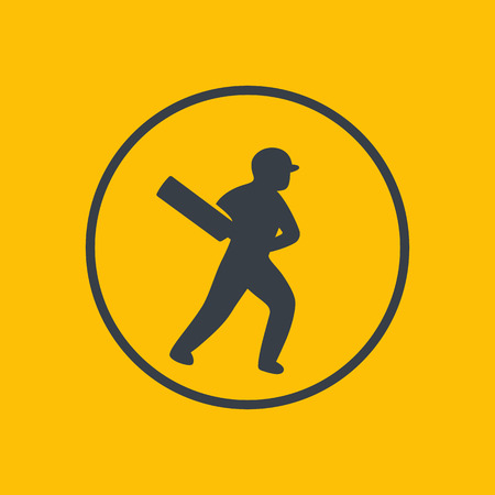 cricketer: Cricket icon, batsman, player with bat, vector illustration