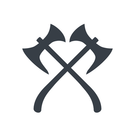 halberd: crossed axes silhouette, medieval weapons, vector illustration Illustration
