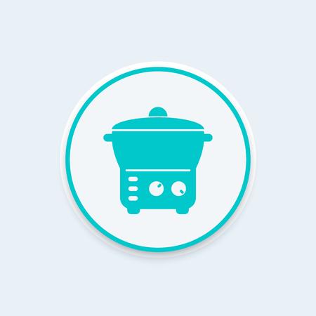crock: electric cooker icon, steamer, crock-pot