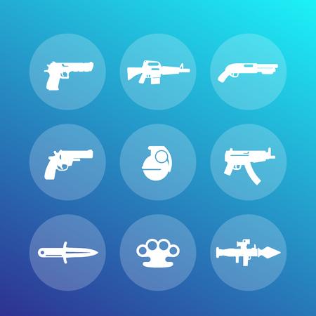m16 ammo: weapons icons set, pistol, rifle, revolver, shotgun, grenade, machine gun, knife, rocket launcher, firearm, explosive Illustration