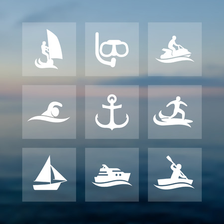personal watercraft: water sports icons set, diving, swimming, surfing, sailing, rowing