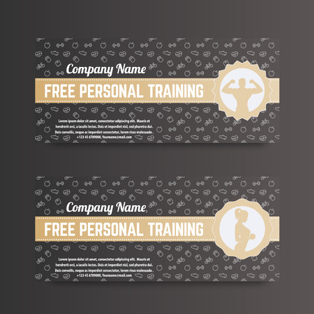 personal training: Free personal training, gift voucher for gym, fitness club, gold on dark