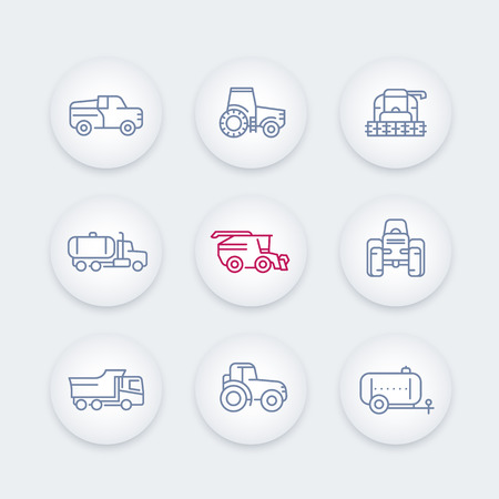combine harvester: Agricultural machinery line icons set, tractor, combine harvester, grain harvesting combine, truck, pickup