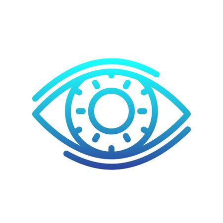 viewer: eye line icon, ophthalmology, optics logo element, vector illustration