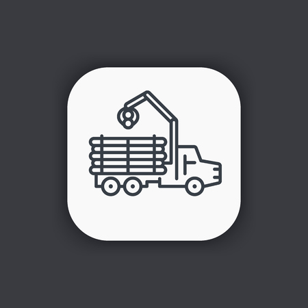 Forwarder line icon, forestry vehicle, logging truck