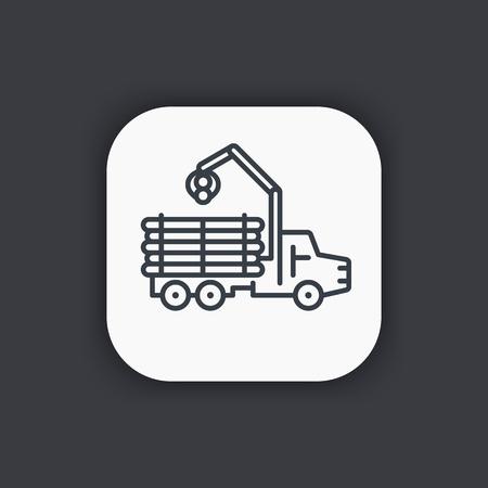 logging: Forwarder line icon, forestry vehicle, logging truck Illustration