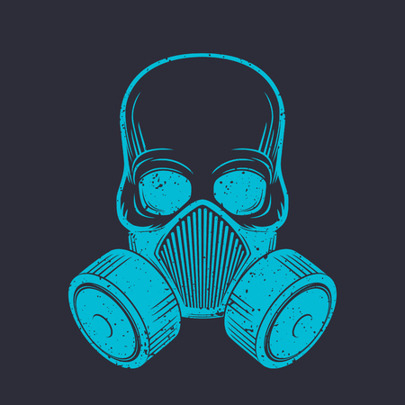 空気呼吸器、防毒マスク、ベクトル図と頭蓋骨