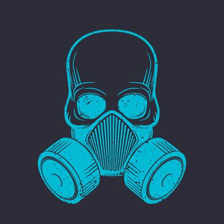 crâne avec un respirateur, un masque à gaz, illustration vectorielle
