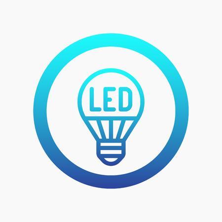 led light bulb: led light bulb line icon on white, vector illustration