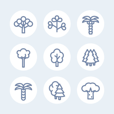 Trees line icons set on white, vector illustration