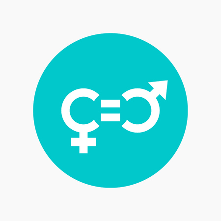 gender equity icon, round vector sign Çizim
