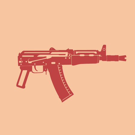 carbine: Soviet automatic carbine, shortened assault rifle, russian automatic gun, vector illustration