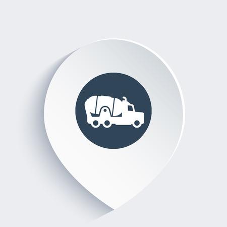concrete mixer truck: concrete mixer truck icon on mark Illustration