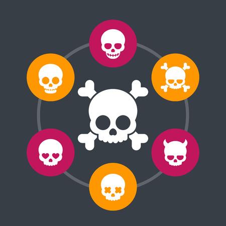 dangerous love: skulls icons, bones, devil, fiend, heart-shaped eyes, in love, smiling skull Illustration