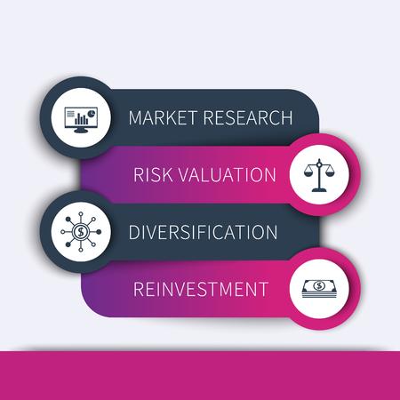 fondos violeta: Estrategia de inversión, plan de negocio, plantilla de línea de tiempo, los elementos infográficos