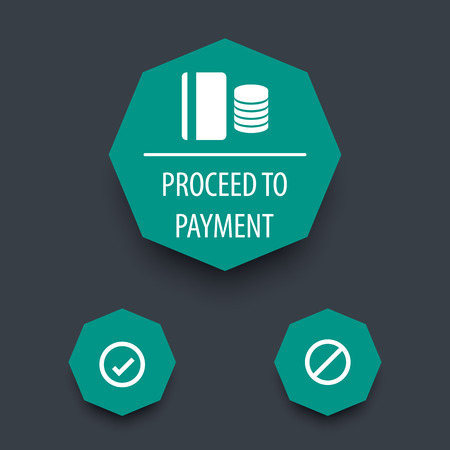 proceed: Proceed to payment, app ui elements, vector illustration Illustration