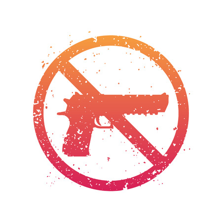 no guns sign with powerful pistol, no firearms, isolated on white, vector illustration