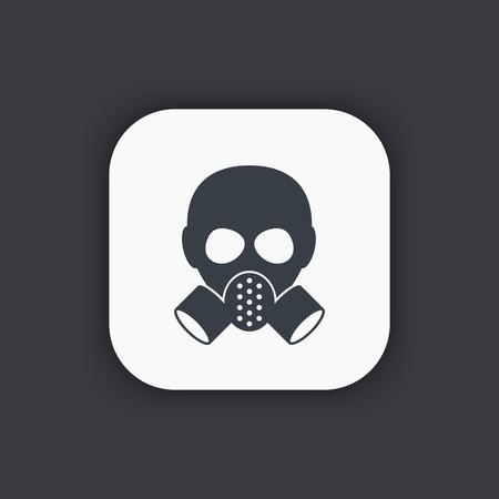 toxicant: gas mask icon, respirator pictogram, vector illustration