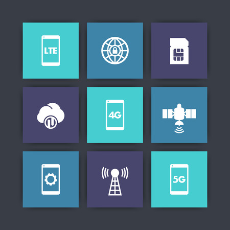 wireless communication: wireless technology icons, 4g network pictogram, lte, communication, connection signs, 5g mobile internet Illustration