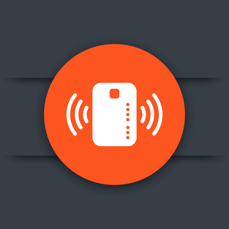 wirelessly: Contactless credit card icon, card with radio wave, vector illustration