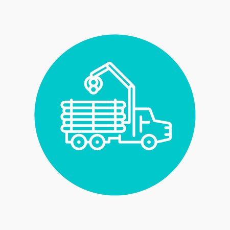 balk: Forwarder line icon, forestry vehicle, logger, logging truck vector