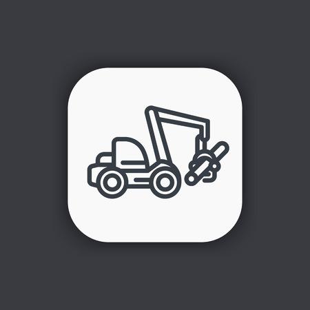 wheeled: Forest harvester line icon, timber harvesting machine, wheeled feller buncher Illustration