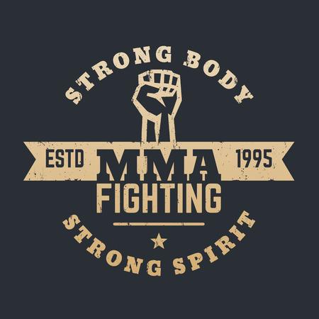 high spirits: MMA Fighting logo, emblem, gold on black, vector illustration