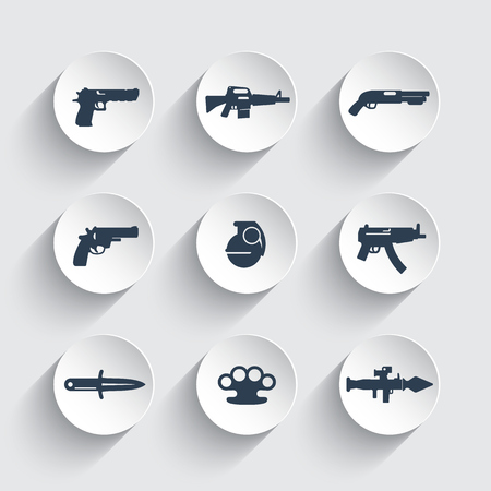 weapons icons set, pistol, guns, rifle, revolver, shotgun, grenade, knife, rocket launcher, firearm, explosive