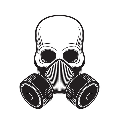 toxicity: skull with gas mask