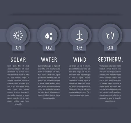 Alternative energy solutions, solar, wind energetics, infographic elements, gray timeline Vector Illustration