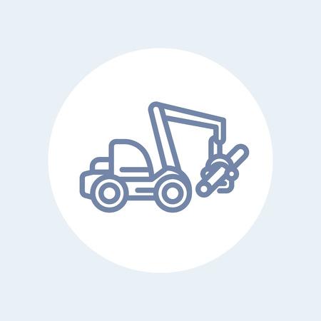 harvester: Forest harvester line icon, wheeled feller buncher, timber harvesting machine isolated on white Illustration