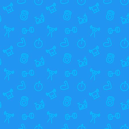 fitness, wzór siłownia, niebieskie tło z ikonami linii, ilustracji wektorowych