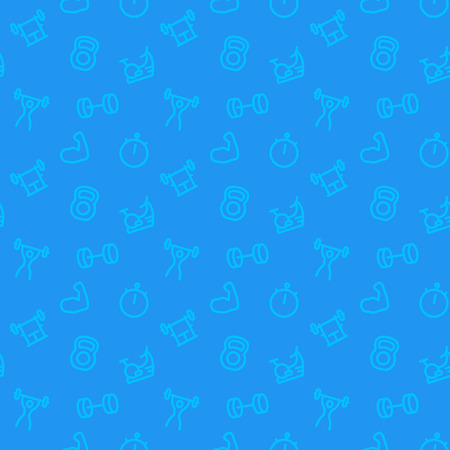 fitness, gym pattern, blue seamless background with line icons, vector illustration Vettoriali